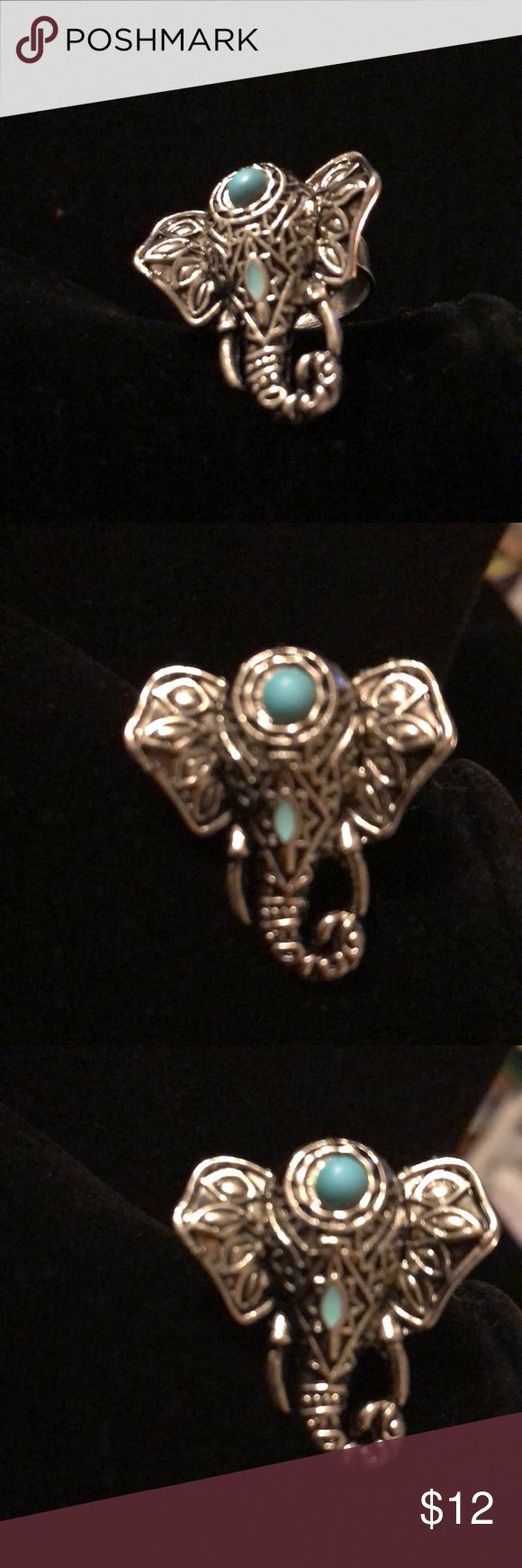 New silver Turquoise Elephant ring New turquoise silver elephant ring adjustable Jewelry Rings