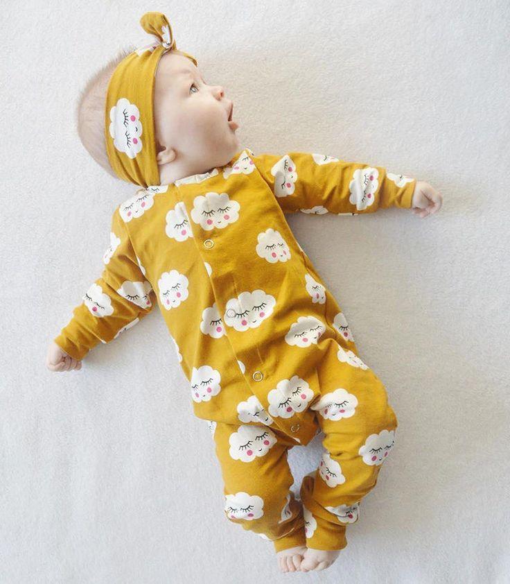 Bebés Niños Niñas Nube Blanca de Manga Larga Del Mameluco Del Mono de algodón + Diadema 2 unids Outfit Niños Ropa Infantil