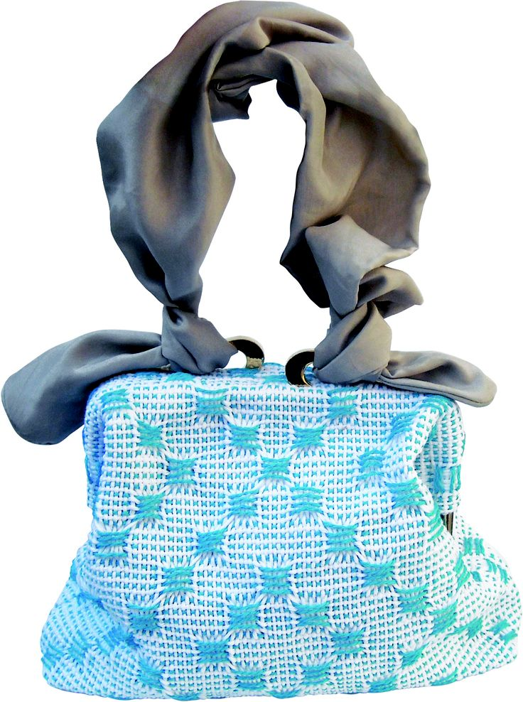 Risiko bag in handwoven fabric matto turquoise. removable silk handle