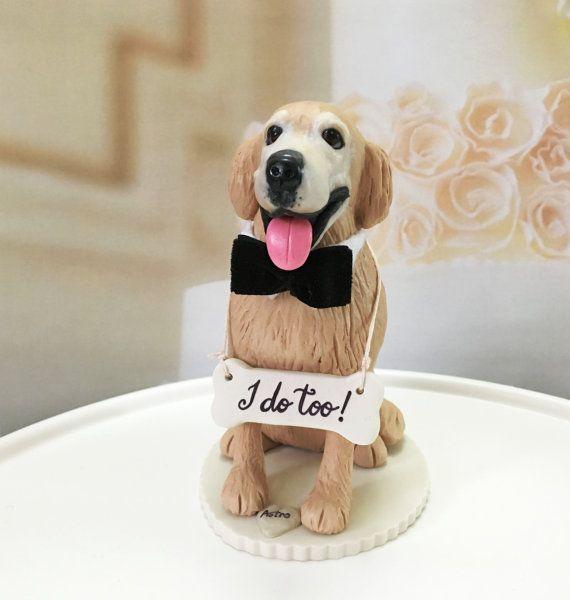 4-6 Custom Golden Retriever Wedding Cake Topper by DogCakeTopper