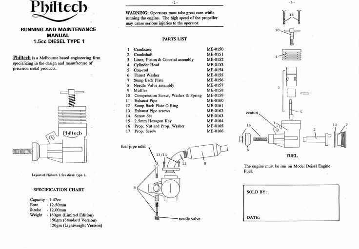Philtec 1.5cc diesel instructions. front page
