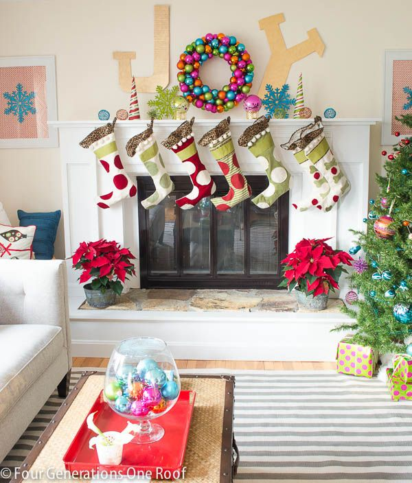 "Christmas Home Tour 2013 - decorating our mantel with a DIY ""JOY"" sign + diy ornament wreath"