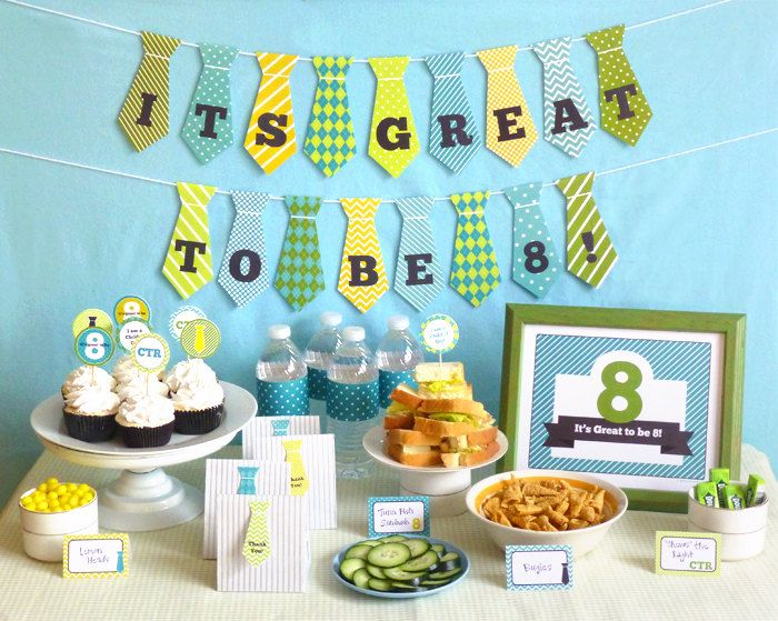 Great to be 8 Boy Party Printable Set: LDS Baptism Party Kit Downloads - Banner Decorations Cupcake Toppers Favor Tags