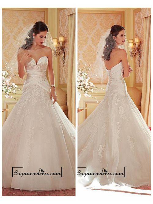 Alluring Organza & Tulle & Satin Sweetheart Neckline Natural Waistline Ball Gown Wedding Dress