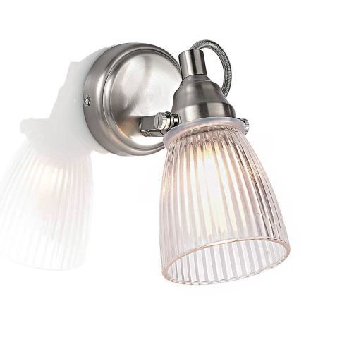 Bad-Wandleuchte, Glasschirm in Riffeloptik, mattes Metall Vorderansichtlampen