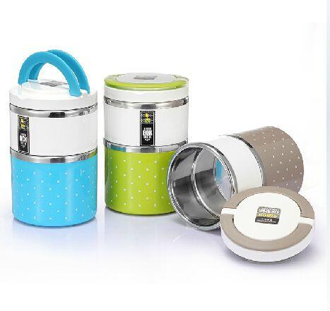 930ml roestvrij stalen dubbele- dek lunchbox bento box&& thermoskan met milieu pp plastic bento van 4 kleuren # 03