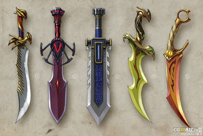 5 games swords weapon original painting
