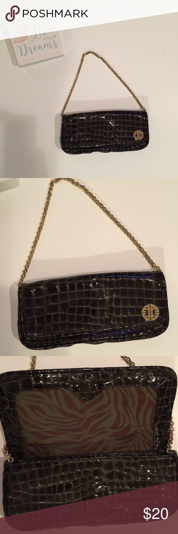 "Antonio Melani Brown Crocodile Embossed Bag Brown shiny Antonio Melani shoulder bag.  Beautiful bag, very clean and in great condition.  11"" Length, 5"" Height, 4"" Depth, 13"" Length with Shoulder Strap. ANTONIO MELANI Bags Shoulder Bags"