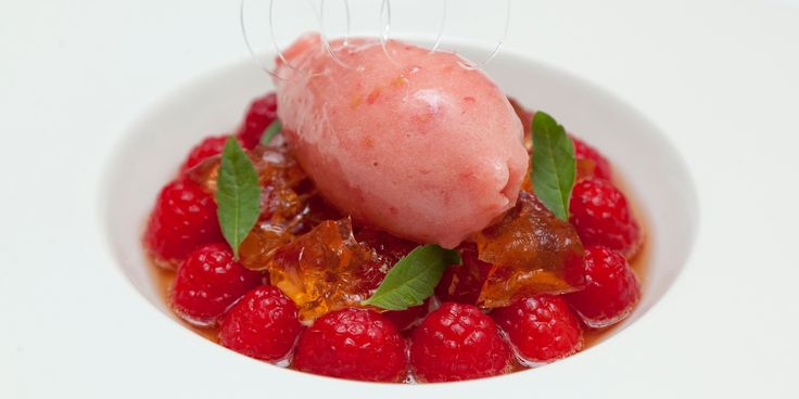 Raspberry Wheat Beer Sorbet with Marinated Raspberries and Raspberry Beer Jelly - William Drabble @Great British Chefs