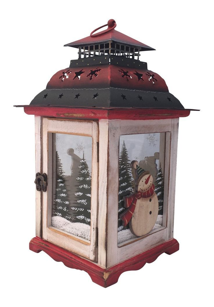 Rustic Hand Painted Wood Glass And Metal Christmas Lantern With Decorative Wood Snowmen With Fe Lanterns Decor Christmas Lanterns Holiday Table Centerpieces
