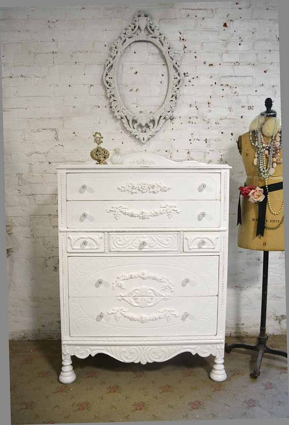 Painted Cottage Chic Shabby French Bombay Dresser/ Chest CH882