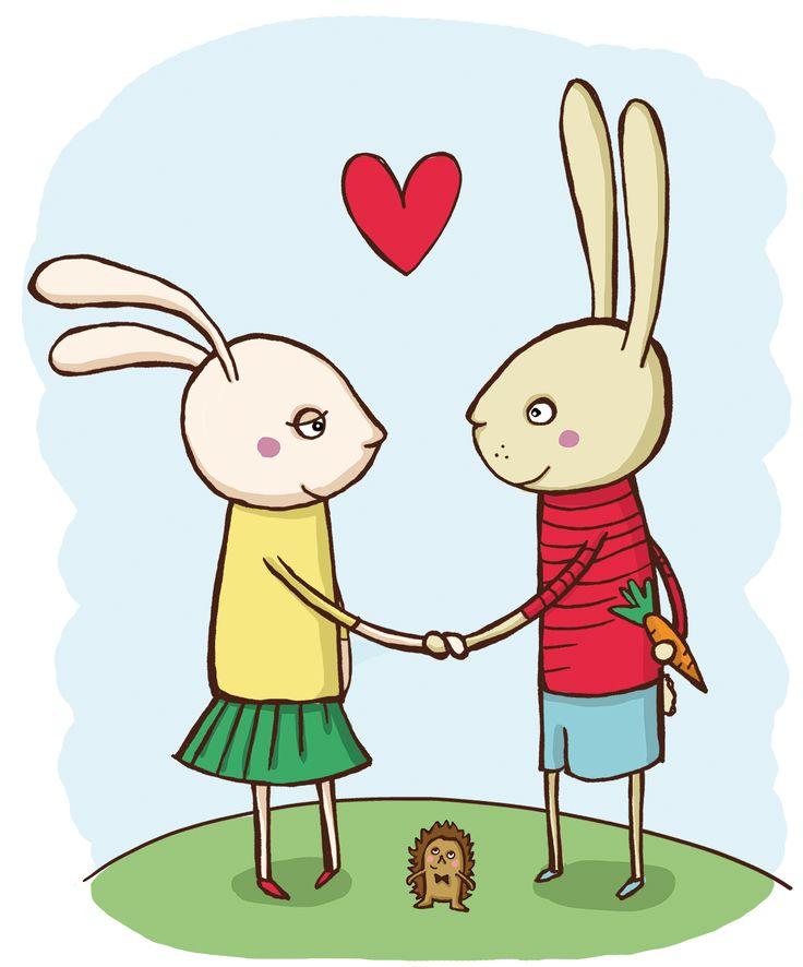 "Childrens' book illustration Rabbit friends - ""like carrot?"""