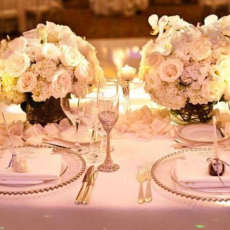 glamorous formal white wedding reception centerpieces
