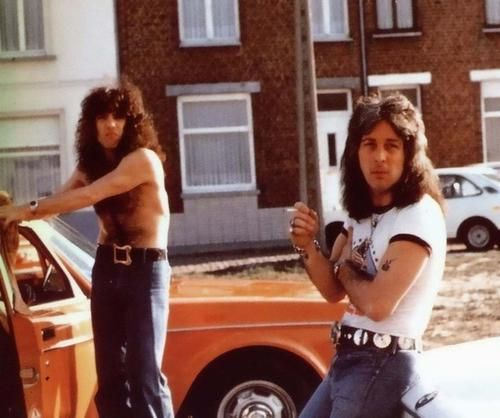 Paul Stanley and Peter Criss of KISS, unmasked, 1970s.