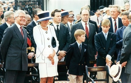 Prime Minister John Major with Princess Diana, Prince Harry and Prince William.