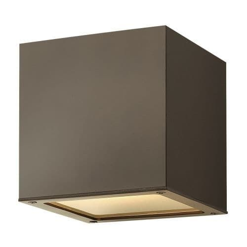 Hinkley Lighting 1767 6 Height 1 Light Outdoor Wall Sconce from the Kube Collection (Bronze), Gold (Aluminum)