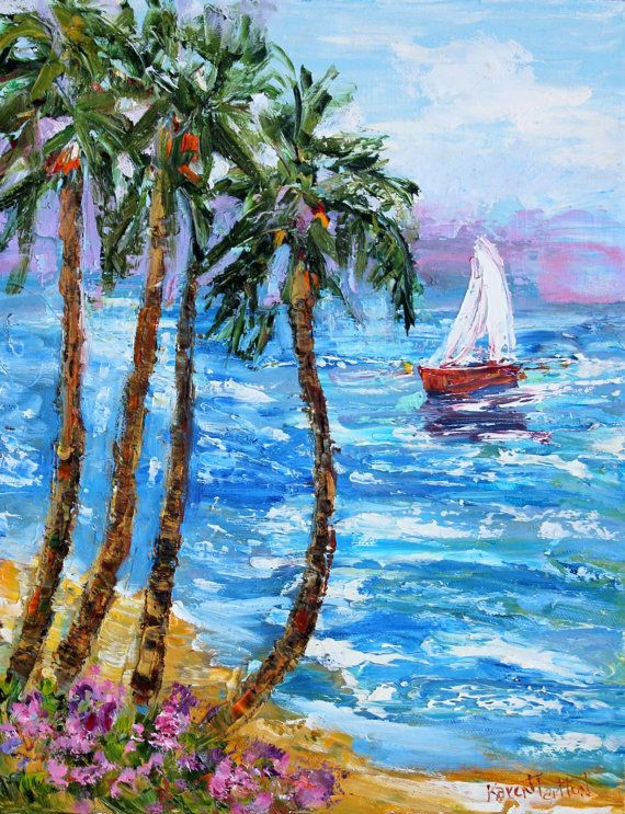 Original oil painting Ocean Sailing abstract impressionism fine art impasto on canvas by Karen Tarlton
