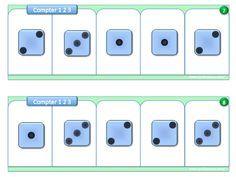 22 fiches pour boites à compter niveau PS, pour compter des colletions de 1 à 3 objets, avec pions, constellations, doigts, dés...