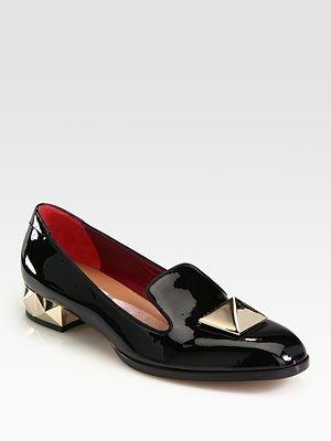 Valentino - Jumbo Stud Loafers - Saks.com: Patent Leather, Black Color, Likes Iii, Black Cigarette Pants, Leather Smoking, Smoking Slippers, Horroroso Slippers