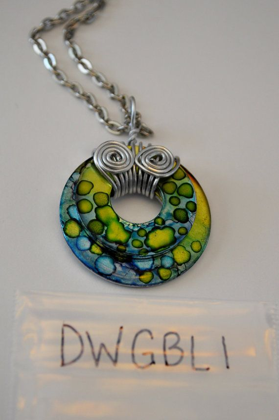 Hand Painted Alcohol Ink Double Washer Pendant by DLouiseMemories, $12.00