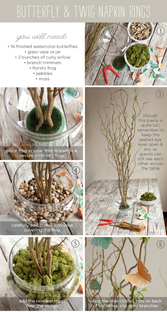 Curly willow & paper butterfly centerpiece tutorial