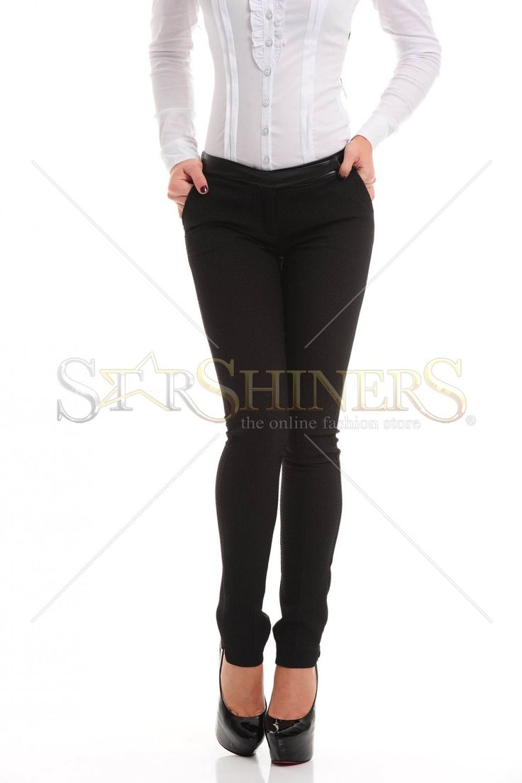 Fofy Skinny Waist Black Trousers