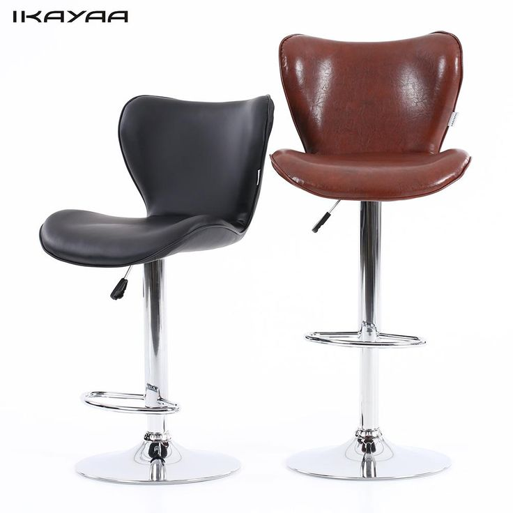 iKayaa US Stock PU Leather Swivel Bar Stool Chair Height Adjustable Pneumatic Counter Pub Chair Barstools 2PCS/Set of 2