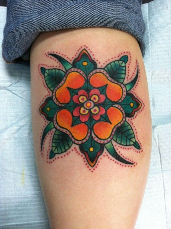 Traditional flower tattoo | tattoo coverup ideas | Pinterest