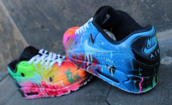 pick up 96d8f a82ee Nike Air Max 90 Blue Galaxy Style Painted Custom Shoes Sneaker   Etsy