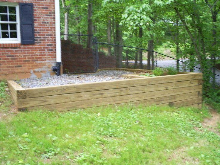 wood retaining wall ideas 6x6 retaining wall back yard. Black Bedroom Furniture Sets. Home Design Ideas