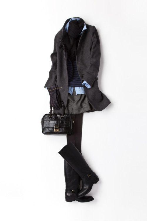 mini shorts + coat @ kk-closet
