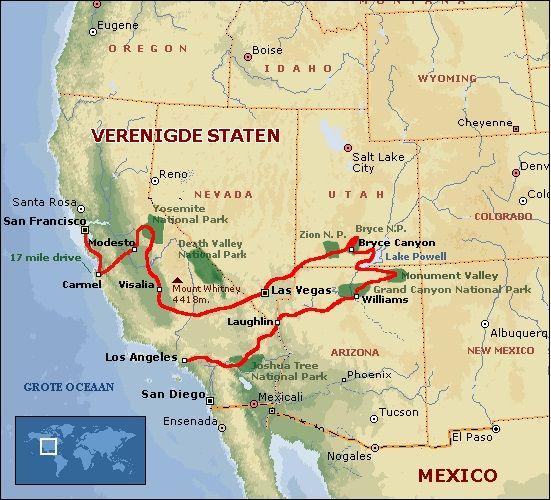Kaartje met daarop de route van de rondreis (bron: FOX)