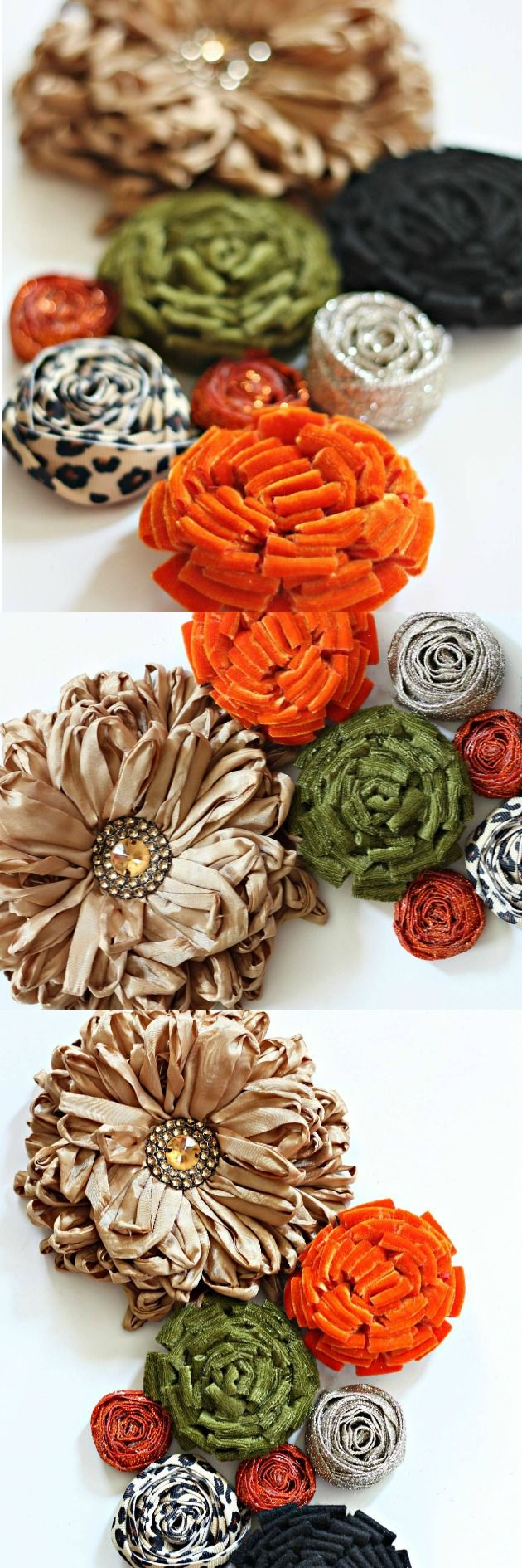 How to make a Posie and Rosette Cluster using Velvet, Felt and Ribbon  #tutorial #craft