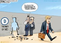 Although Chuck Schumer and the democrats try to obstruct, Resist, and defy Trump's agenda, Trump keeps on going and going and going. Cartoon by A.F. Branco ©2017.