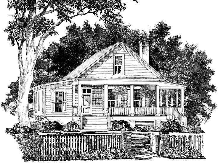 wrap around porch cottage house plan with 2066 square