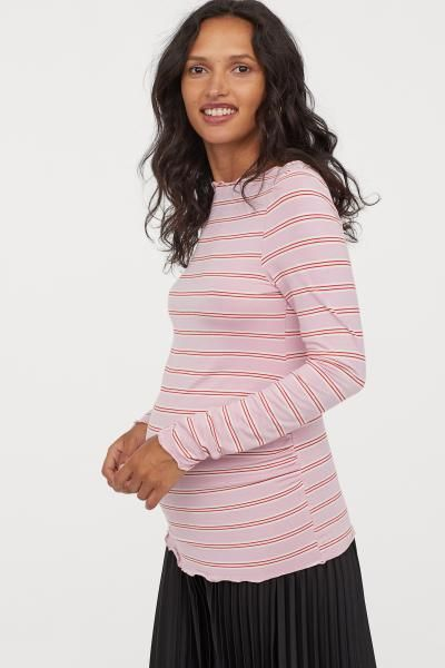 4b5a7a79cc6 MAMA Long-sleeved jersey top - Pink red striped - Ladies