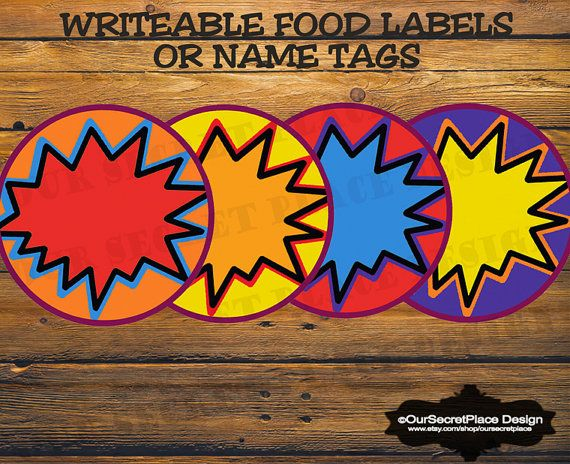 PRINTABLE Any Size Writeable Superhero Party by OurSecretPlace, $3.99