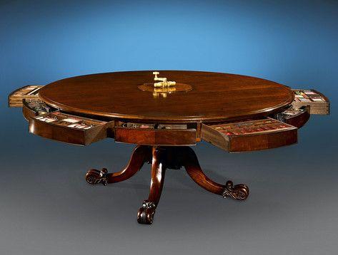 Good Antique Irish Furniture, Antique Mechanical Furniture, Irish Games Table ~  M.S. Rau Antiques