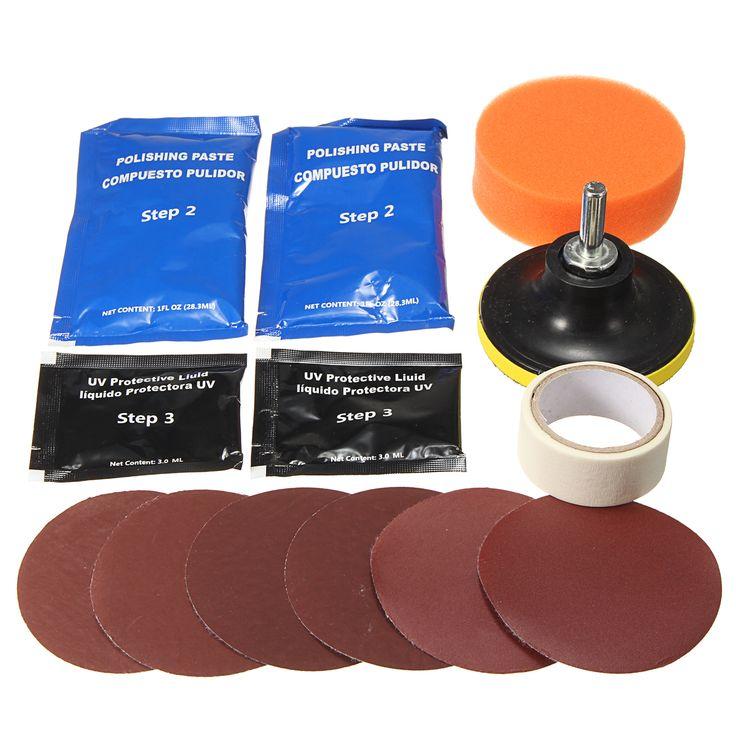 Headlight Lens Restoration Cleaner Kit Plastic Light Polishing Cleaner