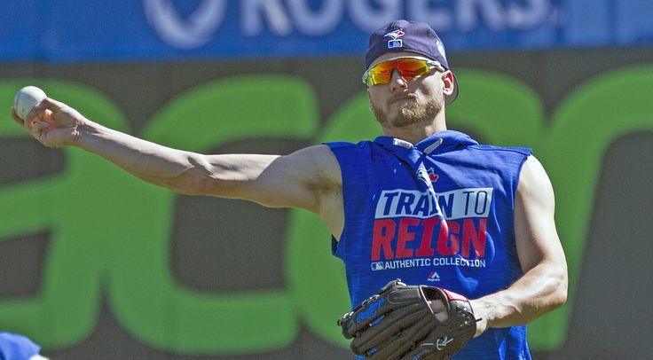 https://flic.kr/p/RakQ3U | Rehabbing a calf strain, Josh Donaldson threw in the outfield this morning during BP.