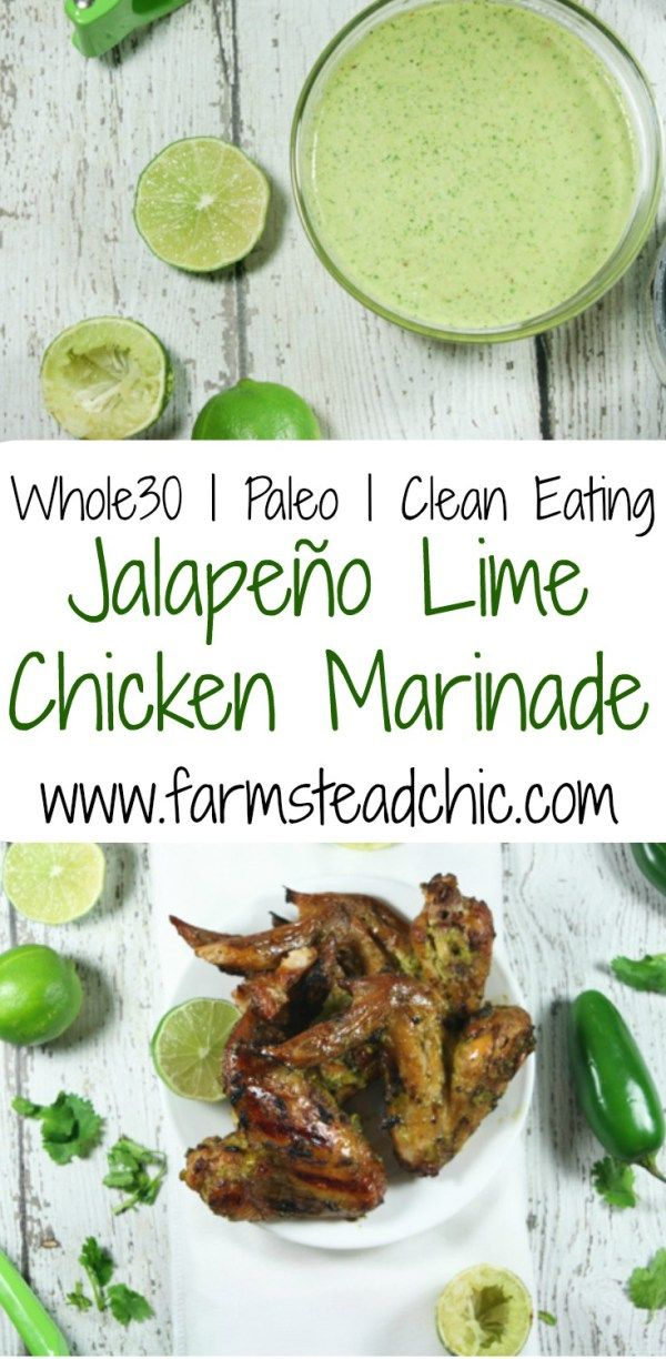 This Whole30 Jalapeño Chicken Marinade is perfection! Spicy, fresh and tangy, it is a great complement to grilled chicken wings! Only 6 ingredients! (+S&P)