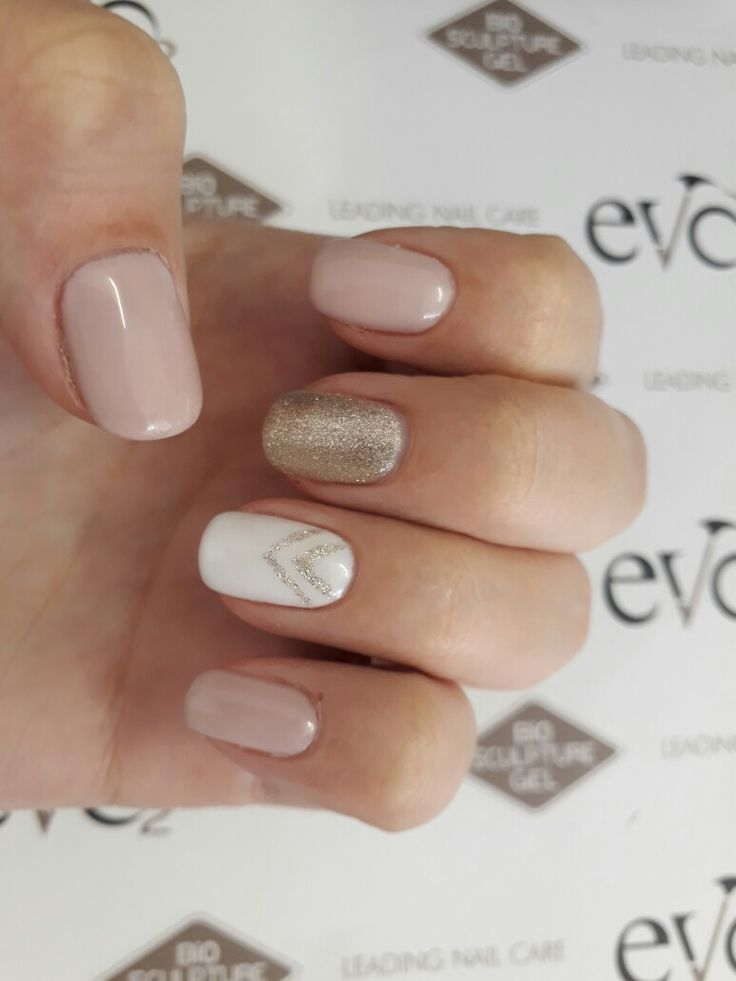 Evo bio sculpture nails design  retro glitter gold pink nude white design art gel