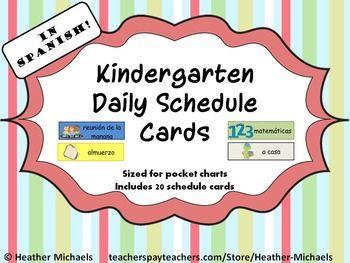 Tarjetas del horario diario/ Daily Schedule Cards in Spani