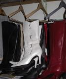 Use pant hangers to hang your boots to de-clutter your closet and easily see your collection
