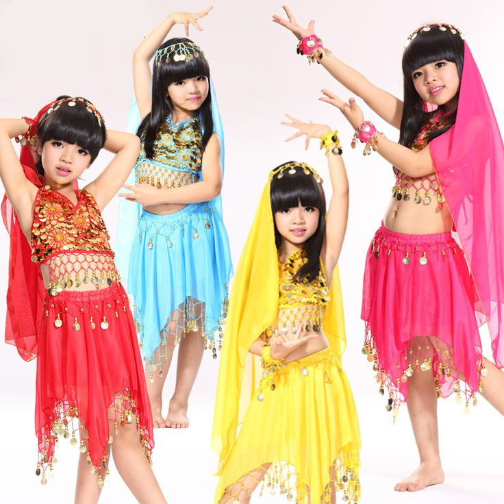 US $16.92 / piece  2015 New Arrival Belly Dance Costume 5PCS Kids Bollywood Dancewear Roupas Fitness Femininas Children Clothes For Dancing