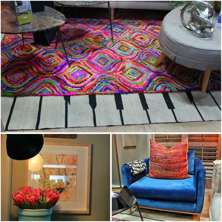 Funky piano carpet,lights, frames and flowers