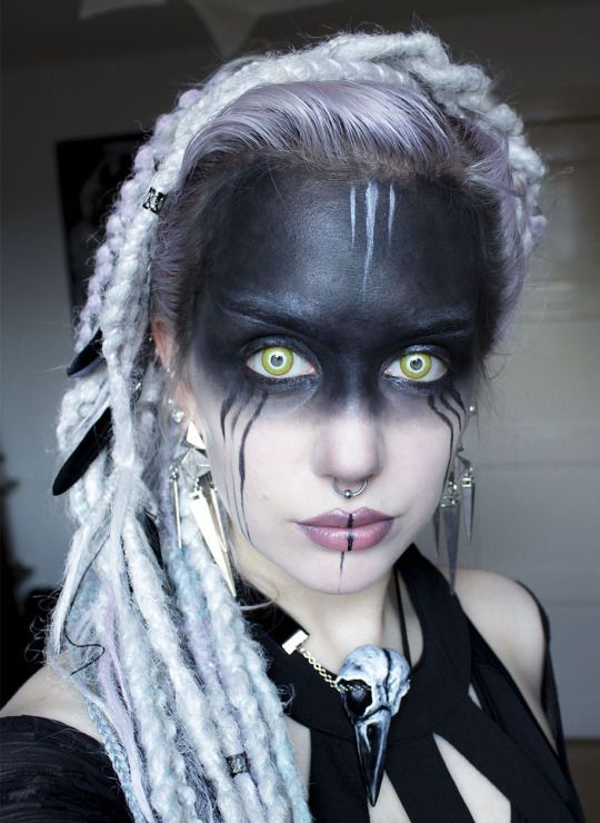 Vesper Moth / post apocalyptic face paint / makeup inspiration / sci fi / fantasy / otherworldly / women's cosplay