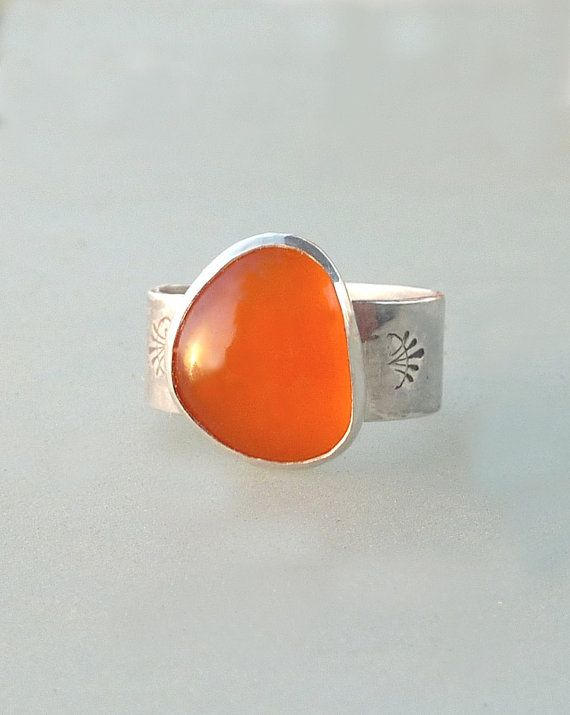Orange Chalcedony ring Artisan Ring Gemstone Ring by anakim, $108.00   #jewelry, #ring