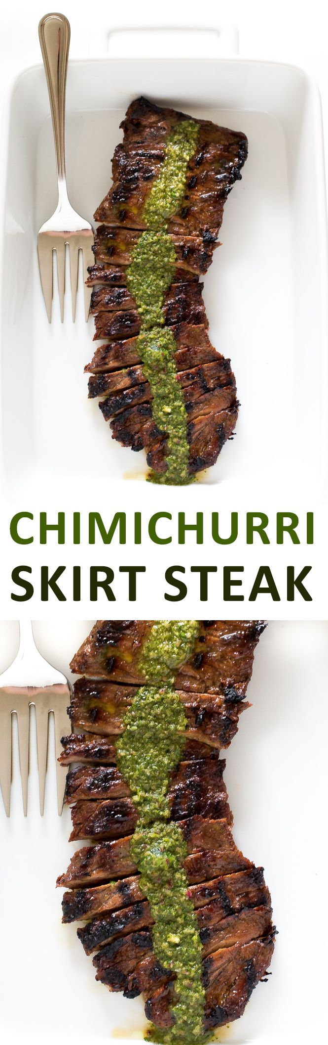 Super tender Skirt Steak with Chimichurri Sauce. The perfect summer meal! | chefsavvy.com #recipe #dinner #grilled #skirt #steak #chimichurri