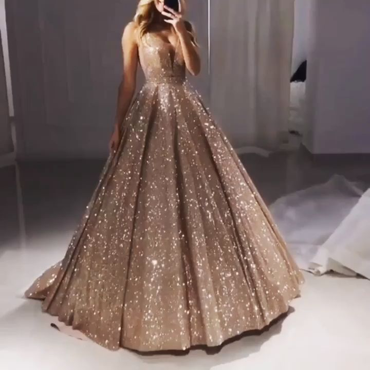 modest long prom dresses champagne 2019 ball gown v neck